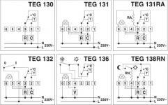 Схема підключення механічних терморегуляторів Perry в залежності від моделі